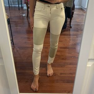 Free People button fly patchwork white jeans